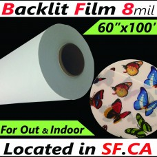"Front Inkjet Printing Backlit PET Film,8mil,Double-Sided Matte,for Eco-Solvent,Latex,UV Ink,60 in x 100 ft,3"" Core"