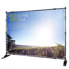 8'x8' ECONOMIC Telescopic Step and Repeat Banner Backdrop Stand Adjustable Display Wall