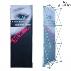 1x3 (W*H), Velcro Tension Fabric Backdrop Booth Frame Straight Pop Up Display Stand 0.79x2.27m