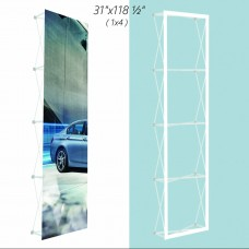 1x4 (W*H), Velcro Tension Fabric Backdrop Booth Frame Straight Pop Up Display Stand 0.79x3.00m