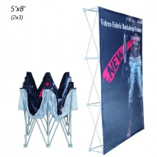 2x3 Velcro Tension Fabric Backdrop Booth Frame Straight Pop Up Display Stand 5'x8' (W*H)