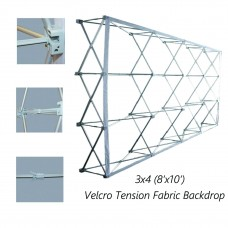8 x 10ft, Velcro Tension Fabric Backdrop Booth Frame Straight Pop Up Display Stand (3x4)
