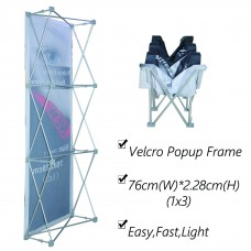 1x3 (H*W), Velcro Tension Fabric Backdrop Booth Frame Straight Pop Up Display Stand 0.76x2.28m