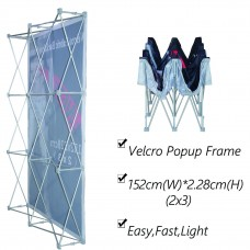 2x3 (H*W), Velcro Tension Fabric Backdrop Booth Frame Straight Pop Up Display Stand 1.52x2.28m
