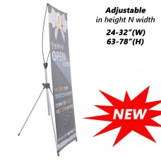 "Premium Adjustable X Banner Stand from 24""x63"" to 32""x78"" Portable Oxford Bag"