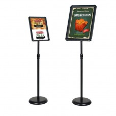 Outdoor/Indoor Adjustable Sign Stand Advertising Support Board Sign Stand Poster Holder (Black, 8.5x11 inches)