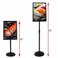 Outdoor/Indoor Adjustable Sign Stand Advertising Support Board Sign Stand Poster Holder (Black, 11x17 inches)